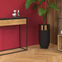 Minimalistyczna, nowoczesna konsola SKINNY XL w kolorze czarnym z szeroką drewnianą dębową szufladą