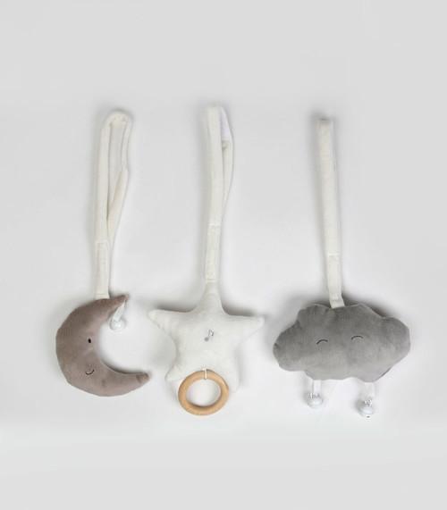 Zabawka prezent dla niemowlaka-stojak/mata edukacyjna-gwiazdka, księżyc i szara chmurka