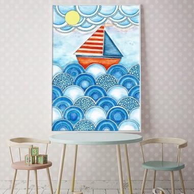 Plakat do pokoju dziecka z łódką- w stylu marynarskim