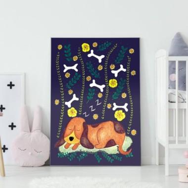 Plakat do pokoju dziecka z pieskiem