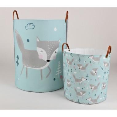 Miętowo-szary pojemnik/ koz na zabawki do pokoju dziecka