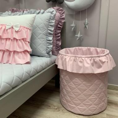 Kosz na zabawki do pokoju dziecka- różowy z falbanką, szary, fioletowy