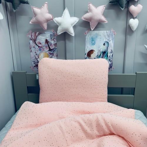Komplet różowej pościeli dla niemowlaka/ noworodka. Kołderka i poduszka z wypełnieniem i poduszką.