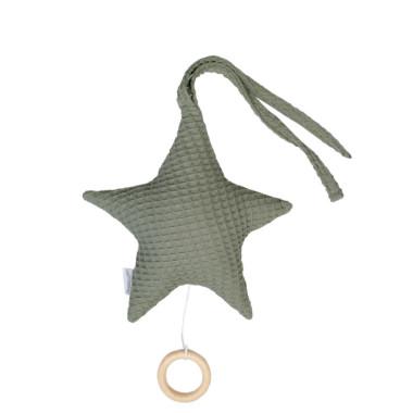 Gwiazda – zawieszka do wózka, fotelika, łóżeczka z pozytywką (khaki)