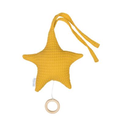Gwiazda – zawieszka do wózka, fotelika, łóżeczka z pozytywką (musztarda)
