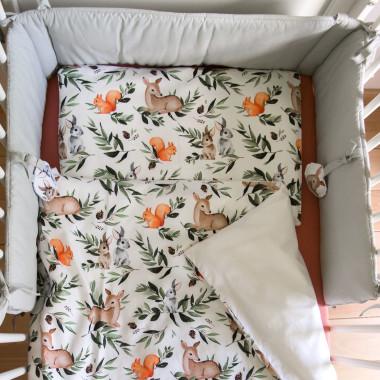 Leśne Zwierzęta – pościel do łóżeczka + ochraniacz