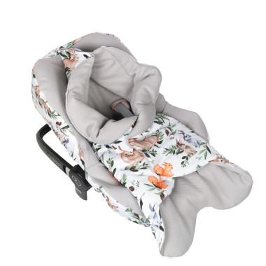Leśne Zwierzęta – pikowany śpiworek/otulacz do fotelika samochodowego