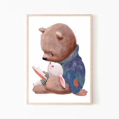 Plakat na ścianę do pokoju dziecka z misiem i kroliczkiem
