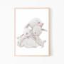 Plakat na ścianę do pokoju dziecka z przytulonymi króliczkami. Ozdoba do pokoju dziecka.