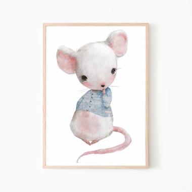 Plakat do pokoju dziecka przćedstawiający mysz