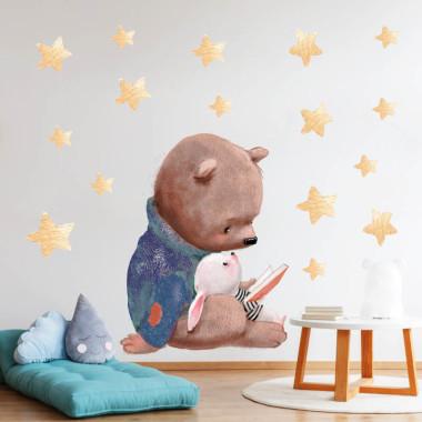 Bezpieczna naklejka na ścianę do pokoju dziecka z misiem i króliczkiem