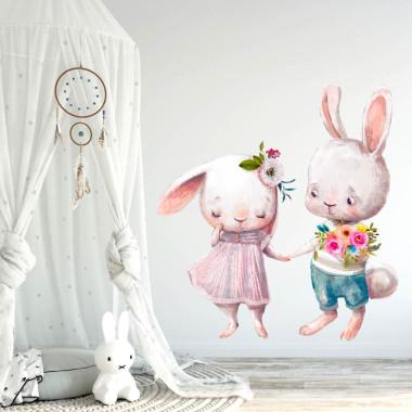 Bezpieczna naklejka na ścianę do pokoju dziecka-2 zakochane króliczki trzymające się za ręce