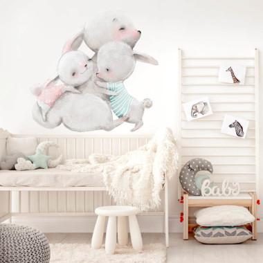 Bezpieczna naklejka na ścianę do pokoju dziecka. 3 króliczki