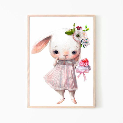 Obrazek na ścianę do pokoju dziecka ze słodkim króliczkiem