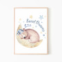 Plakat/obrazek do pokoju dziecka-sweet dreams-miś śpiący na chmurce.