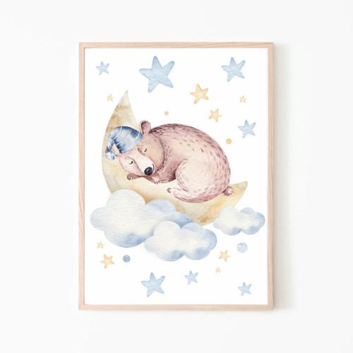 Plakat/ obrazek do pokoju dziecka z misiem śpiącym na księżycu.