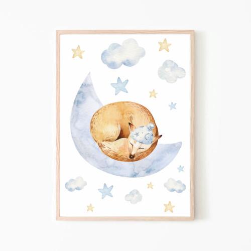 Plakat obrazek do pokoju dziecka z lisem śpiącym na chmurce