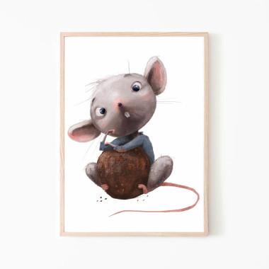Plakat/obrazek dla dziecka z myszką