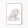Obrazek na ścianę do pokoju dziecka z rodzinką króliczków