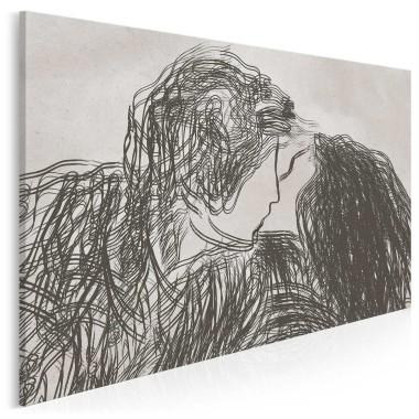 Obraz romantyczny, pasuje do sypialni, przedstawia czarno-białą parę ludzi
