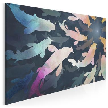 Obraz z kolorowymi rybkami, obraz na płótnie wsokiej jakości, pasuje do salonu, sypialni, do biura