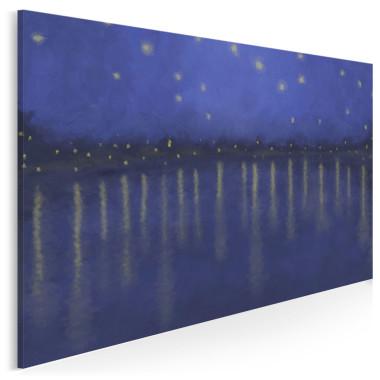 Granaowo- niebieski obraz przedsawiający gwieździstą noc nad wodą