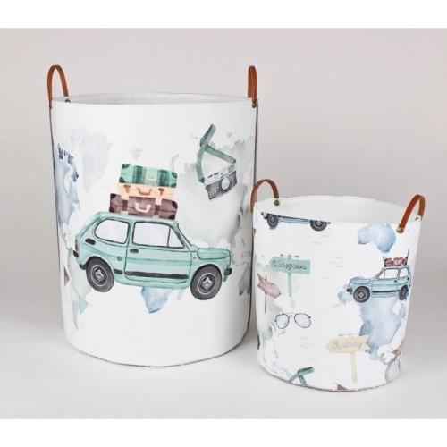 Pojemny kosz materiałowy na zabawki, ubranka, pranie z rysunkiem Fiat126P-mAŁY FIAT, MALUCH