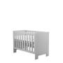 Szare łóżeczko dla noworodka/ dziecka ze szczebelkami.