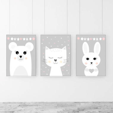 TRYPTYK dla dzieci zwierzaki gwiazdki róż- plakaty na ścianę do pokoju dziecka