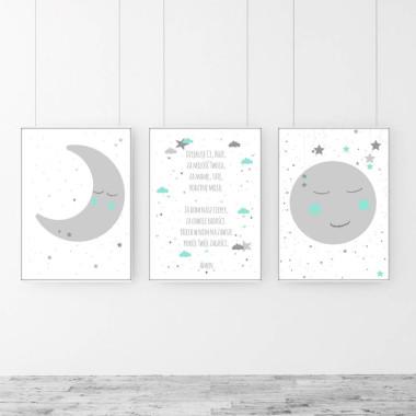Zestaw 3 plakatów do pokoju dziecka-księżyc