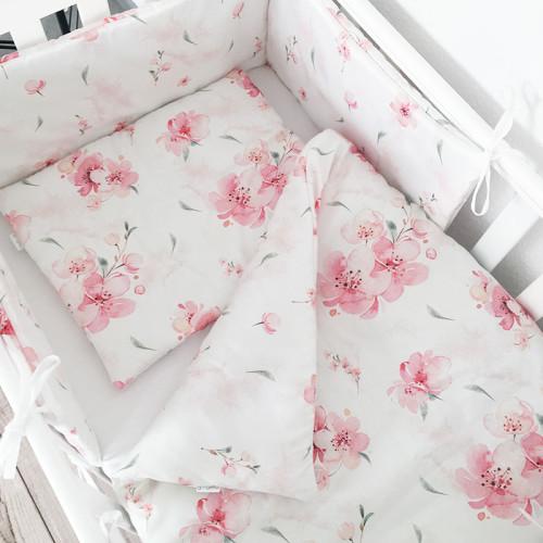 Wyjątkowy komplet pościeli dziecięcej, kołderka + poduszka Kwiaty Wiśni.
