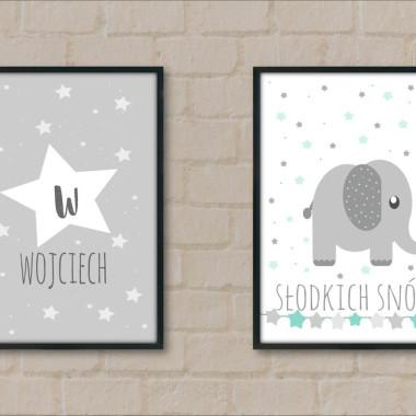 Zestaw 2 plakatów gwiazdki turkusowo-szary-do pokoju dziecka