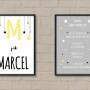zestaw 2 plakatów personalizowanych z imieniem żółto czarny