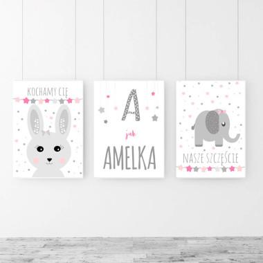Zestaw plakatów Króliczek,Słonik, oraz plakat personalizowany-na ścianę do pokoju dziecka