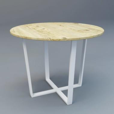 Okrągły drewniany stół z metalowym stelażem
