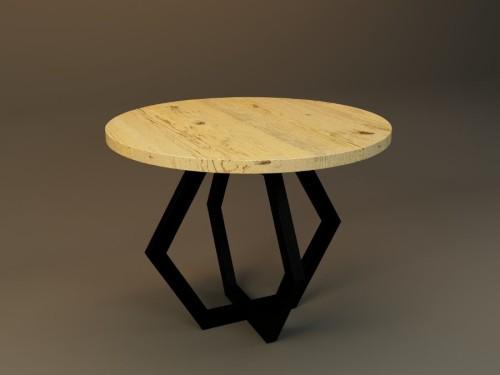Okrągły stół z drewnianym blatem na stalowych nogach