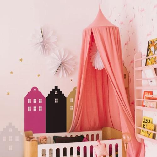 Różowo-czarno-złote domki na ścianę do pokoju dziecka-naklejka ścienna