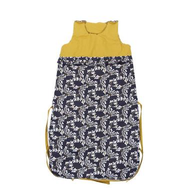 Śpiworek nieowlęcy wykonany z najwyższej jakości bawełnianej tkaniny -żółto granatowy w bazie