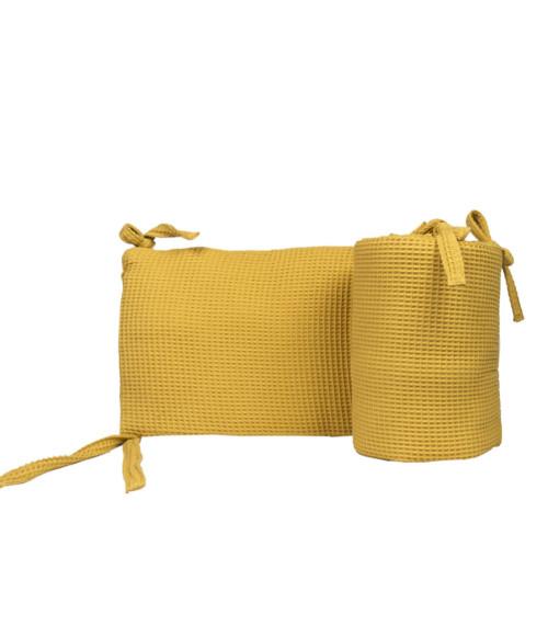 Uniwersalny, dwustronny ochraniacz na boki łóżeczka. Żółty