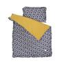 Zółto-granatowa pościel w bazie kotki do łóżeczka dziecięcego