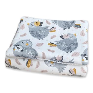 Wyjątkowy komplet pościeli dziecięcej do gondoli lub kołyski, kołderka + poduszka Srebrne Ptaszki z jednej strony i urocze listki z drugiej.