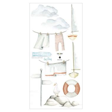 Naklejki do pokoju dziecka przedstawiające pot-w stylu marynarskim-koło ratunkowe, strój marynarski, łodzie