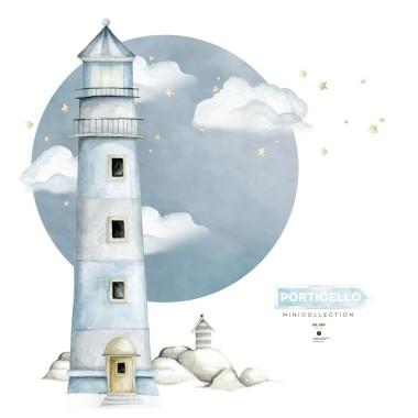 Niebieska latarnia morska- naklejka na ścianę do pokoju chłopca