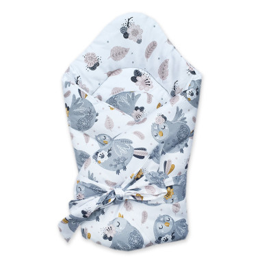 Dwustronny rożek niemowlęcy wykonany z wysokiej jakości bawełny w przepiękne Srebrne Ptaszki.
