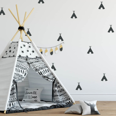 Naklejki na ścianę, wigwamy - idealne do dekoracji pokoju dziecka.