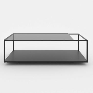 szklano metalowa ława do salonu z miejscem na książki/gazety
