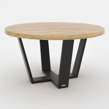 Okrągły stolik kawowy/ława do salonu z drewnianym blatem.