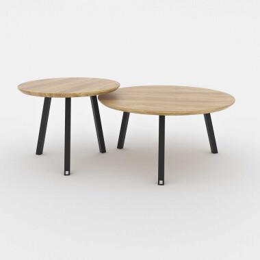 Okrągłe drewniane stoliki kawowe na białych lub czarnych nogach. sTOLIKI/ ŁAWA DO SALONU.