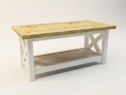 Stolik nawiązujący do stylu rustykalnego, oraz typowo skandynawskiego.. Blat z drewna dębowego.