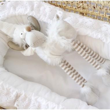 Przepiękny biały i delikatny kokon/ gniazdko niemowlęce